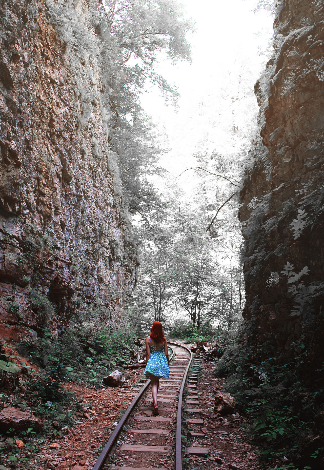 Girl goes on rail tracks Arrival Away Balance Beauty Concept Fairytale  Forest Green Color Happiness Lifestyle Nature Outdoor Person Perspective Road Summer Sunlight Travel Trip Vacation View Woman