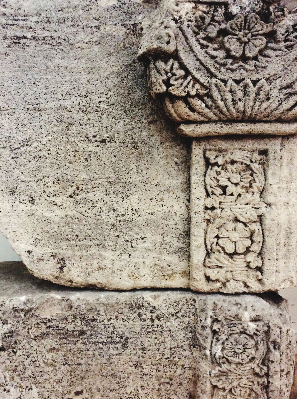 Close-Up Of Carving On Old Ruined Wall