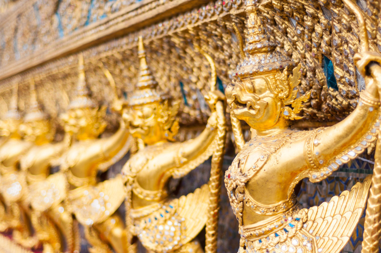Golden Garuda in Wat Phra Kaew Thailand Art And Craft Bangkok Buddhism Close-up Culture Cultures Decorations Garuda Gold Gold Colored Golden No People Outdoors Place Of Worship Religion Sculpture Temple Thailand Travel Travel Destinations Wat Phra Kaew