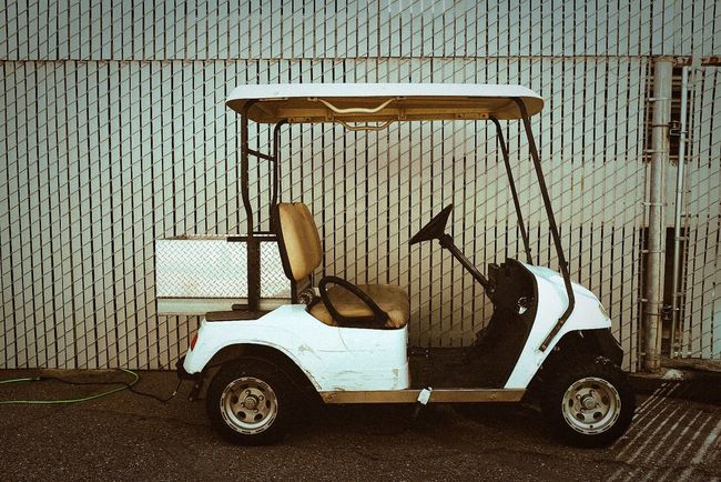 Golf Cart Golf Cart Electric Vehicle Cart Transportation White Fence