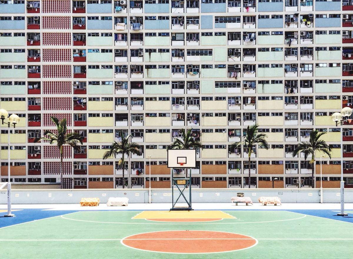 Choi Hung Estate Basket Sunny Day Basketball Ground Hk Colorful
