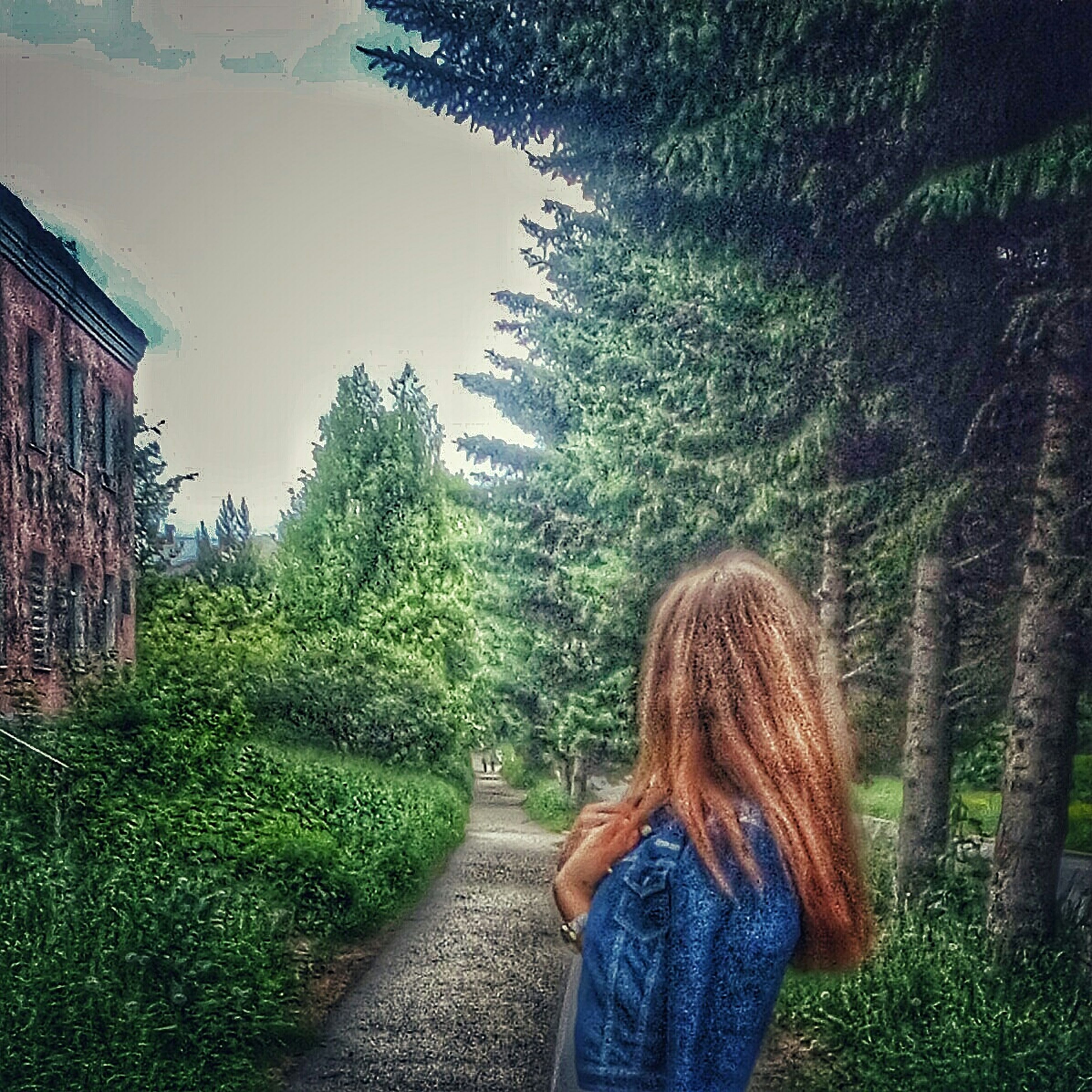 tree, long hair, one person, rear view, real people, green color, grass, outdoors, girls, lifestyles, plant, day, nature, standing, women, blond hair, architecture, people, sky, young adult, adult