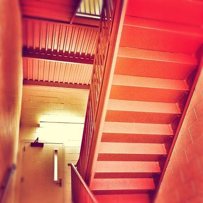Red stairs at night. Picframe Cinderblock Architecture Light Door Stairs Shadow Red Lines Stairwell Interior Industrial Angles Contrast Snapseed Toaster