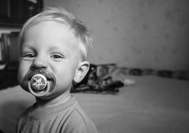 little caucasian boy with a pacifier Black And White Boy Caucasian Childhood Close-up Cute Domestic Life Elementary Age Focus On Foreground Front View Headshot Indoors  Innocence Leisure Activity Lifestyles Little Looking At Camera Pacifier Person Toddler
