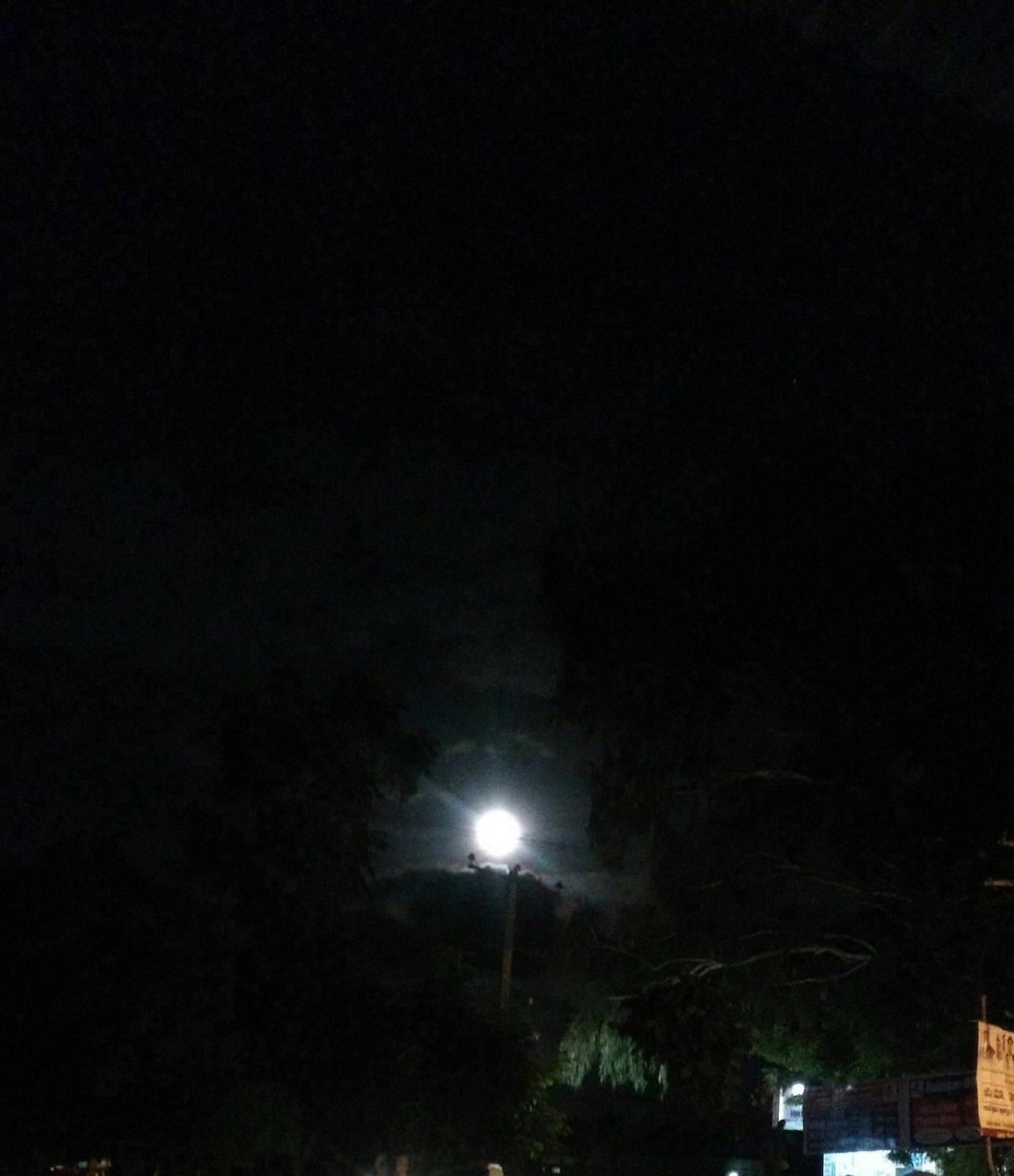 night, illuminated, moon, low angle view, street light, outdoors, no people, sky, tree, nature, beauty in nature, astronomy