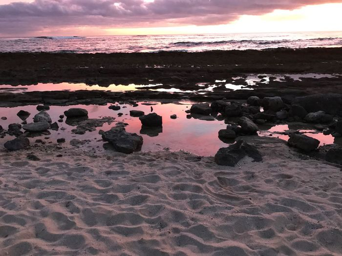EyeEmNewHere Nature Beach Sunset Sky Outdoors Tranquility Beauty In Nature No People Sand Water Scenics Breathing Space Day Reflection Blue in Honolulu, Hawaii United States No Filter, No Edit, Just Photography Breathing Space In Awe In Awe Of Nature Mind Blowing