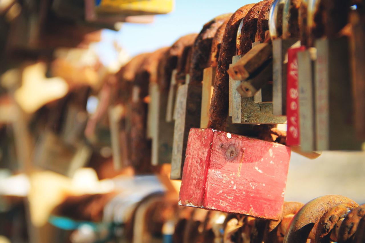 Red padlock Bridge Close-up Day Focus On Foreground Metal Metallic Outdoors Padlock Selective Focus