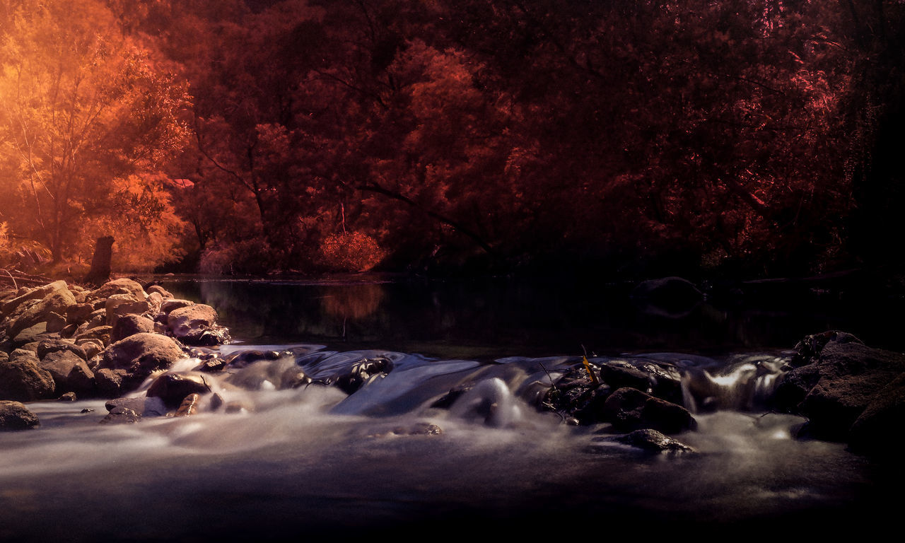 The river cascade at Newnes Campground, New South Wales, Australia Water Waterfall Rushingwater Orange Color Fall Fall Colors Autumn Autumn Leaves Trees Landscape Travel Travelphotography Rocks Nature Mystery Shadows Sunflare Red And Black
