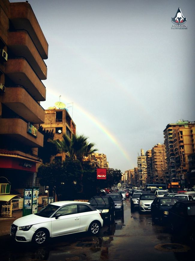 Cityscapes Roof Inspirational Lenovo Photography LenovoK900 Daylight :-) Eye Catching Rainbow On The Road Cairo Egypt Street Photography Reflections Water Reflections Brand PizzaHut . After Rsining