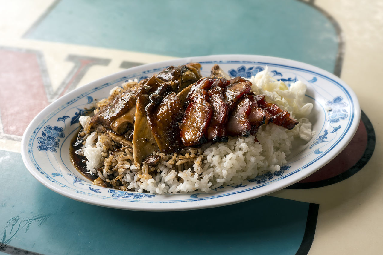 Char Siu With Rice In Plate On Table