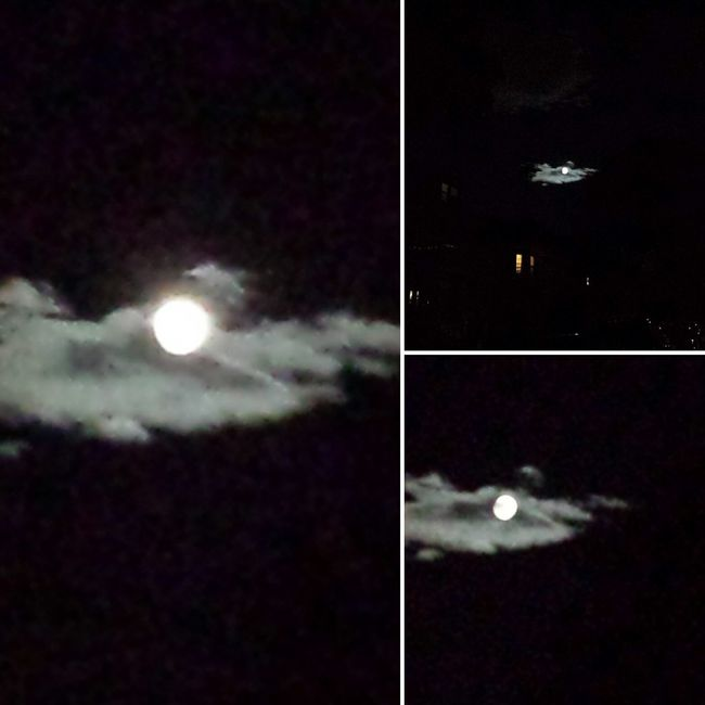 West Roxbury Boston Massachusetts Full Moon Night  Full Moon Behind Clouds 19-July-2016: Enchanting full moon behind veil of the clouds, amazing!