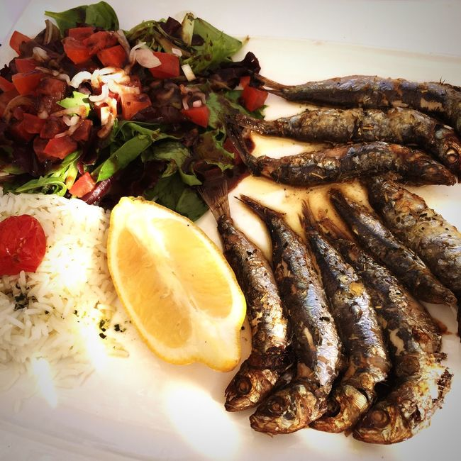 Freshly grilled sardines in the Camargue, France. Food Camargue Food And Drink Freshness Fish Salad Healthy Eating Ready-to-eat No People Meal Grilled Close-up Indoors  Day Slowfood