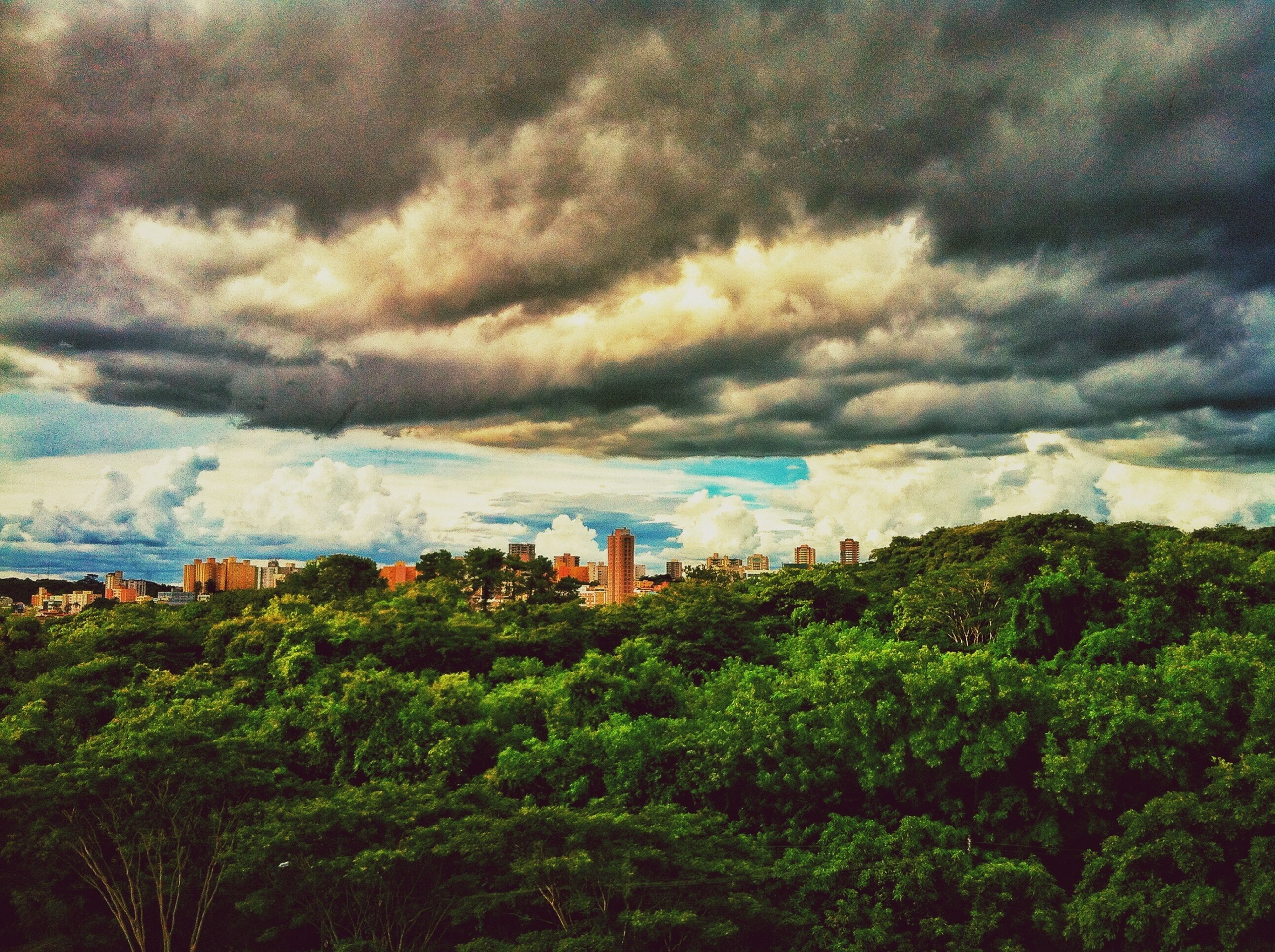 sky, cloud - sky, cloudy, building exterior, architecture, built structure, weather, tree, overcast, cloud, nature, growth, beauty in nature, scenics, storm cloud, landscape, tranquility, plant, tranquil scene, outdoors