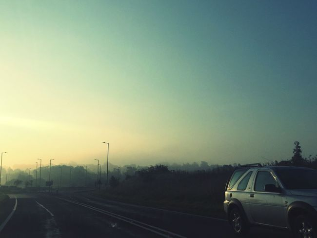 Foggy Morning Commute from Bishops Stortford to London . Fields Nature Sunrise Driving Train