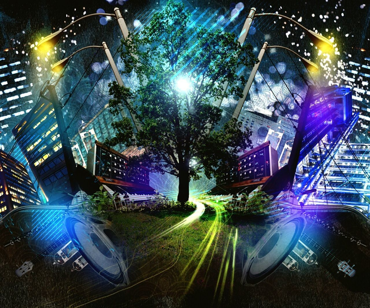 illuminated, night, lens flare, outdoors, no people, low angle view, architecture, technology, tree, futuristic, city