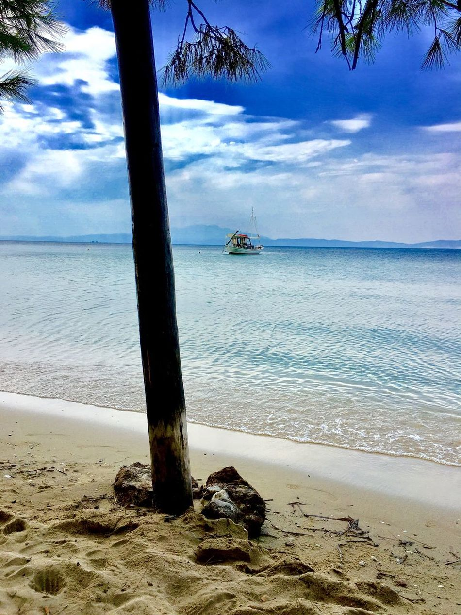 Last days of summer in Greece.. Nature Water Beach Sky Beauty In Nature Tranquil Scene Tranquility Scenics Shore Cloud - Sky Day Horizon Over Water No People Sand Outdoors Nautical Vessel Outrigger Hi! First Eyeem Photo Greece EyEmNewHere