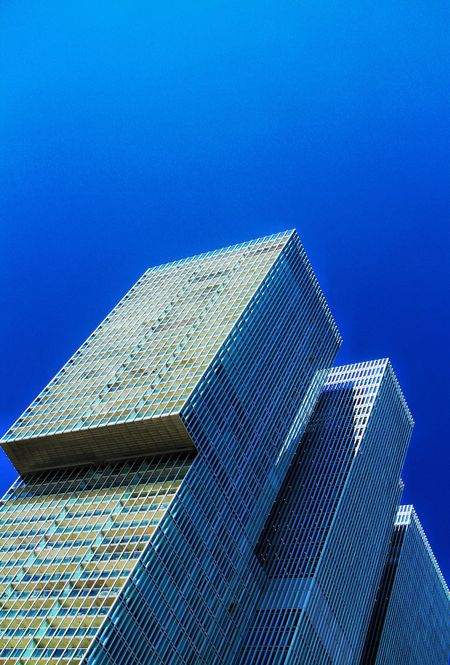 Check This Out Hello World High Rise Building Check This Out Fresh On Eyeem  Architecture Blue Sky Highrisebuilding Fine Art Photography Architecture Photography Blue Taking Photos Hello World Piercing The Sky