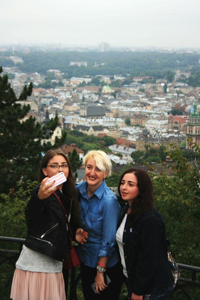 People And Places Friendship Bonding Young Women Architecture Standing Friends Smiling Friend Sky Love Lviv Ukraine Up Above Seesight Old City Tourism Tourist Selfıe Selfie Portrait