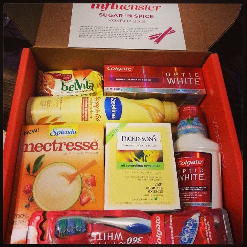 Influenster sugar 'n spice VoxBox 2013 full review at dlvr.it/3dzg0n Brilliantsmile Sprayandgo Dickinsonswitchhazel breakfastbiscuit nectresse