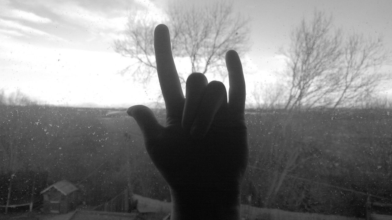 Human Hand Silhouette Sky Real People Outdoors Palm Rock Rocknroll View Window Adapted To The City EyeEmNewHere