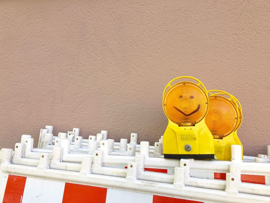 At least one smile a day... Barrier Construction Site Copy Space End Of Working Day Happy Time Kreuzberg Multi Colored My Fuckin Berlin No People Signs Smile :) Smiley Under Construction Under Construction... Urban Exploration