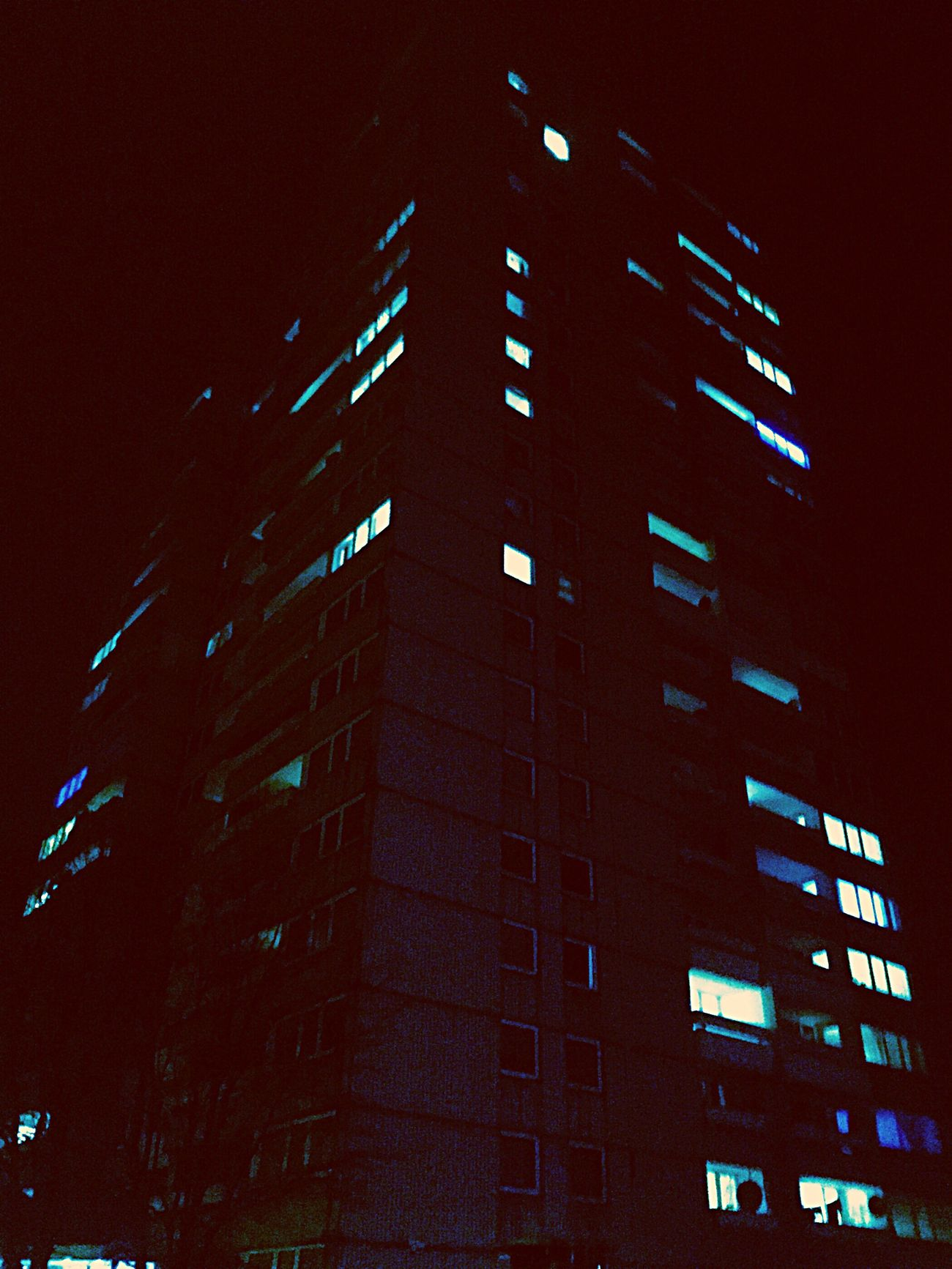 Building Exterior Architecture Built Structure City No People Low Angle View Outdoors Night Illuminated Modern Sky Skyscraper Plattenbau Hochhaus Flat Home Haus Germany Deutschland Mood Nacht Nachtfotografie Nightphotography Nightlife Dark