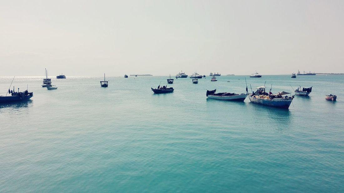Horizon. Boat Sea Water Calm Clear Sky Ocean Harbour Zanzibar Zanzibar🏊🏄🎣 Reastaurant