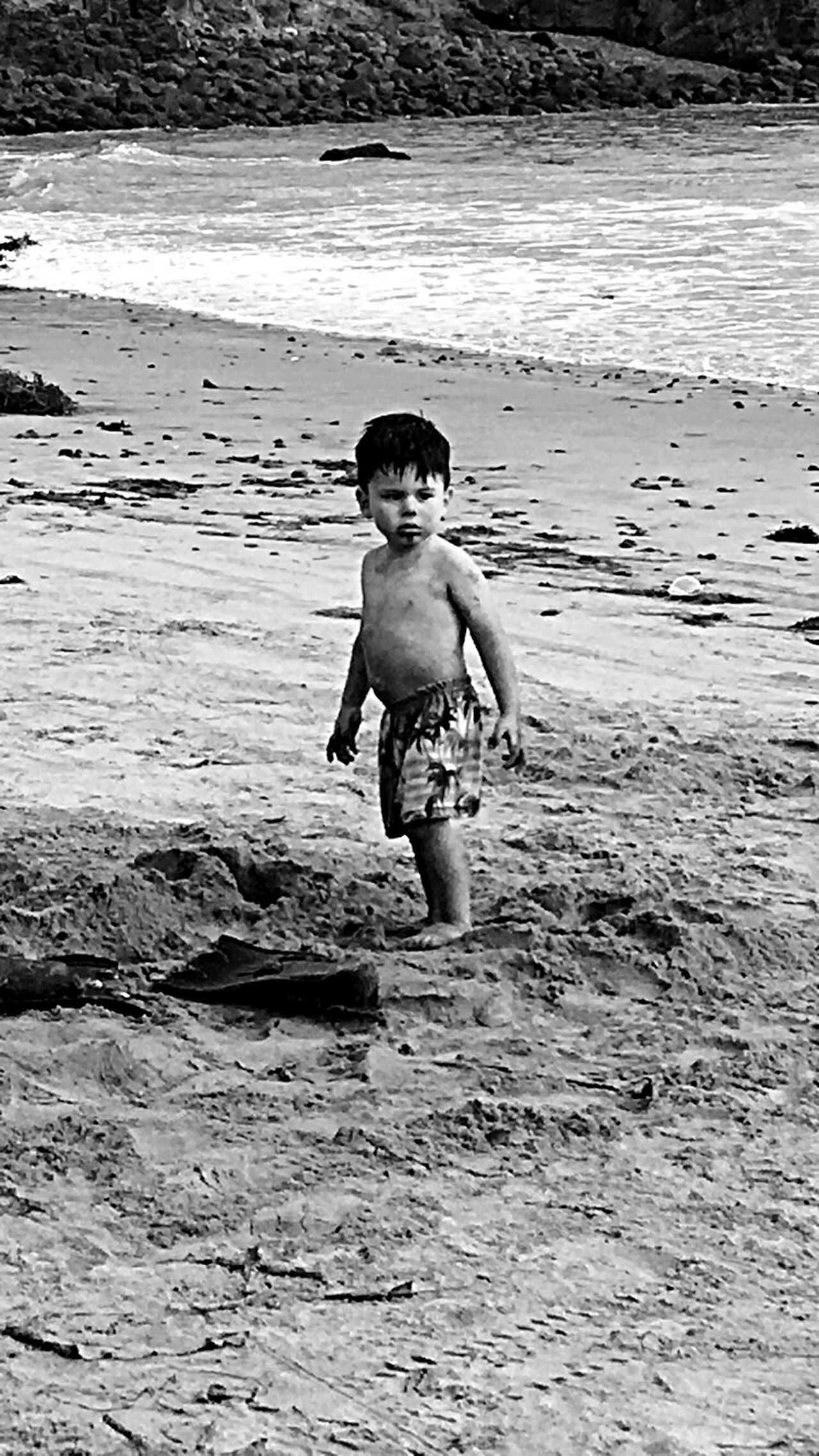CaptureTheMoment The Great Outdoors - 2016 EyeEm Awards B&W Portrait EyeEm Best Shots - Black + White my 2 yr old grandson was watching this lil girl touching my car and was upset Showcase July Eyeem Market EyeEm Best Shots First Eyeem Photo Best Eyeem Pics Artistic Expression Beach Photography