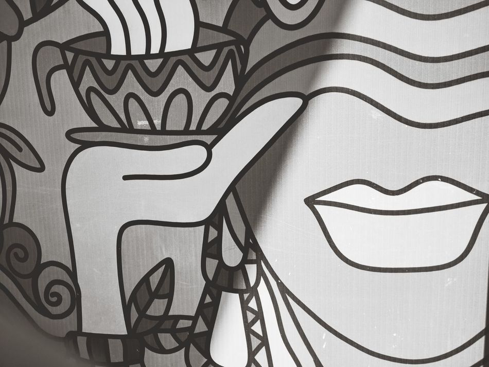 ArtWork Shopping Mall Lips Coffee Black & White Pattern No People Day Art Is Everywhere