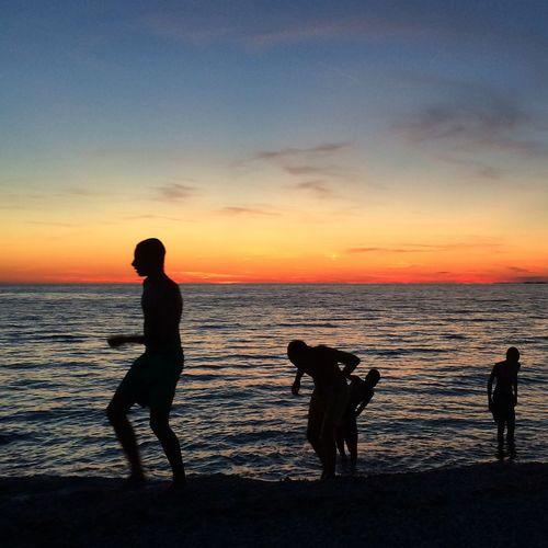 Silhouette Sunset Silhouettes Sea Summer