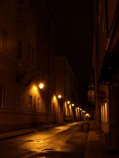 Architecture Church City Clocktower Kapitelgasse Long Exposure Night Nightphotography Salzburg Salzburg Oldtown Salzburg Plus Stift St. Peter Street Light Uni Salzburg Cities At Night