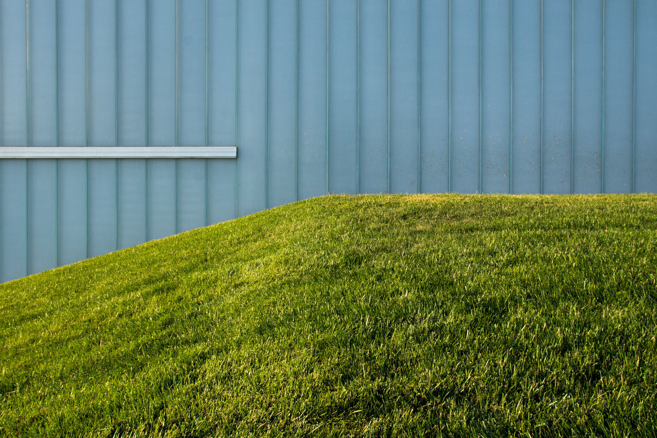 Agriculture Architecture Backgrounds Building Exterior Built Structure Day Grass Green Color Growth Minimal Nature No People Outdoors Pattern
