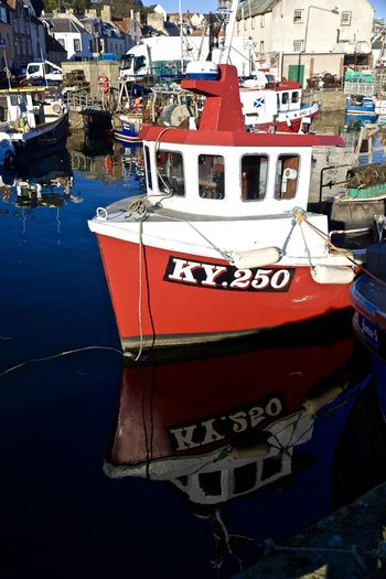 Fishing Boat Boat Day Harbour Moored Nautical Vessel Reflections Rope Water Working