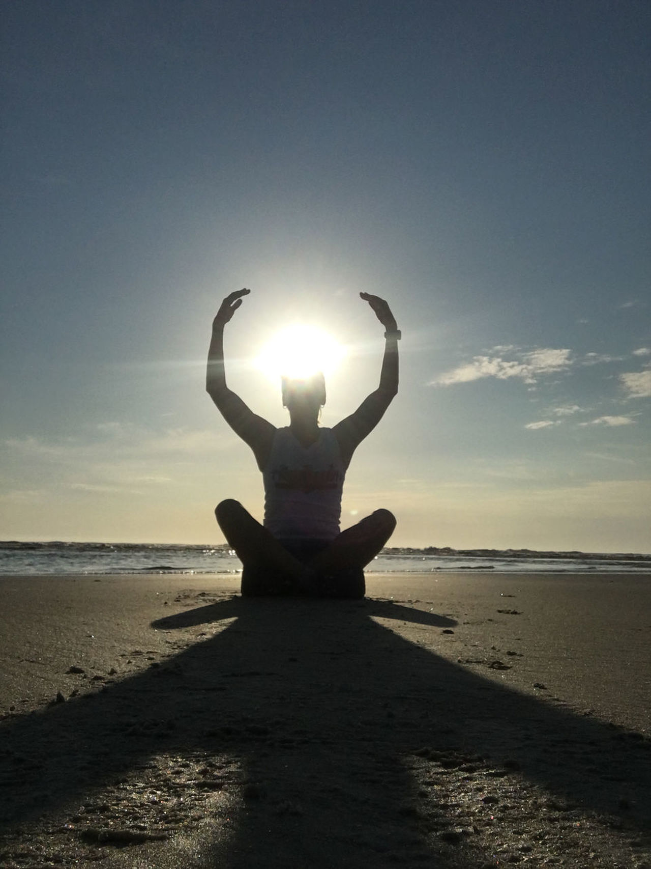 Yoga Halo Beach Beauty In Nature Day Full Length Halo Horizon Over Water Nature One Person Outdoors People Sand Scenics Sea Shore Silhouette Sky Sun Sunlight Sunset Tranquil Scene Tranquility Water Yoga