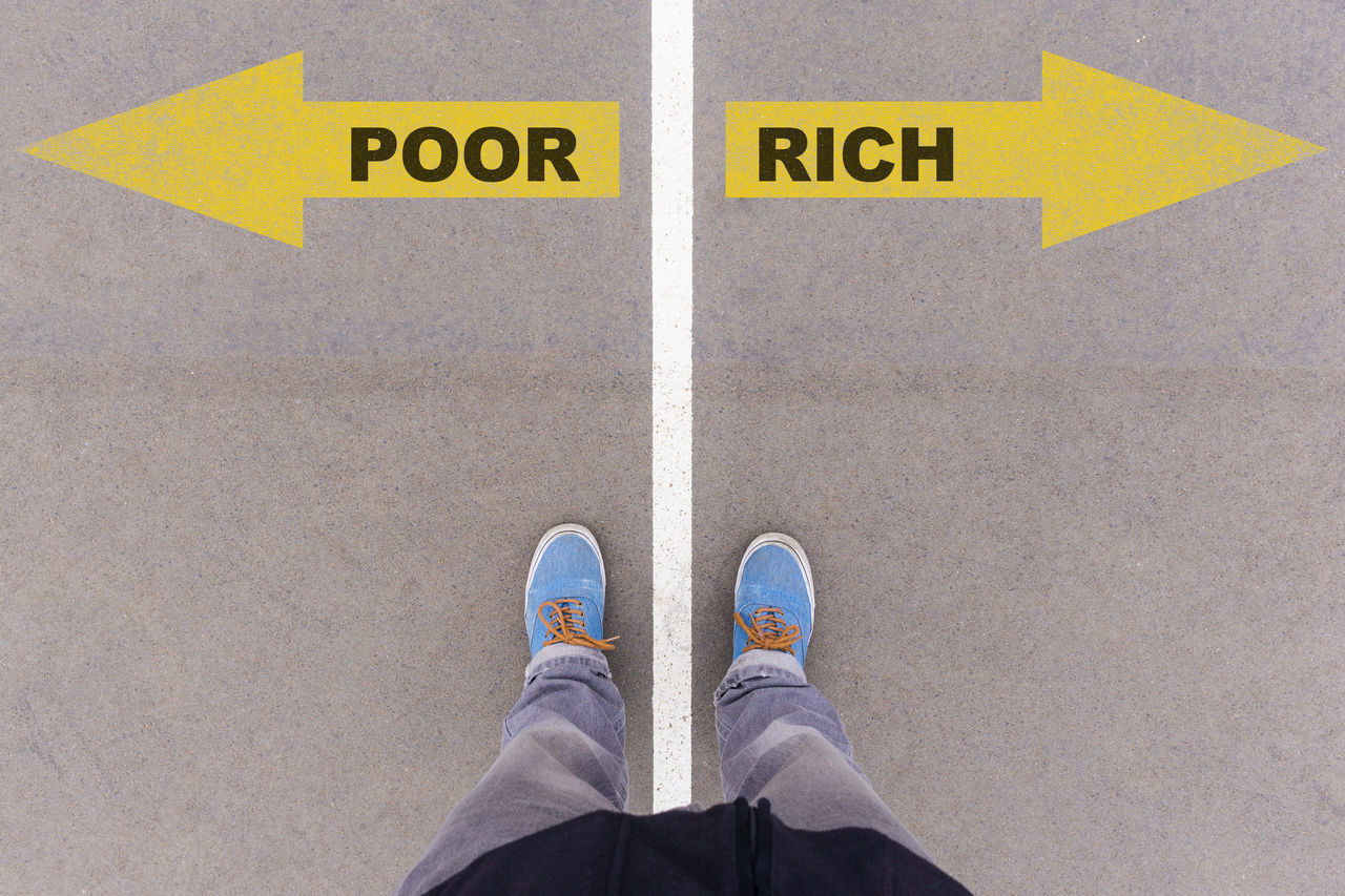 Choice Day Directly Above Finance High Angle View Human Body Part Human Leg Low Section Money One Man Only One Person Outdoors Paths People Personal Perspective Poor  Real People Rich Shoe Standing