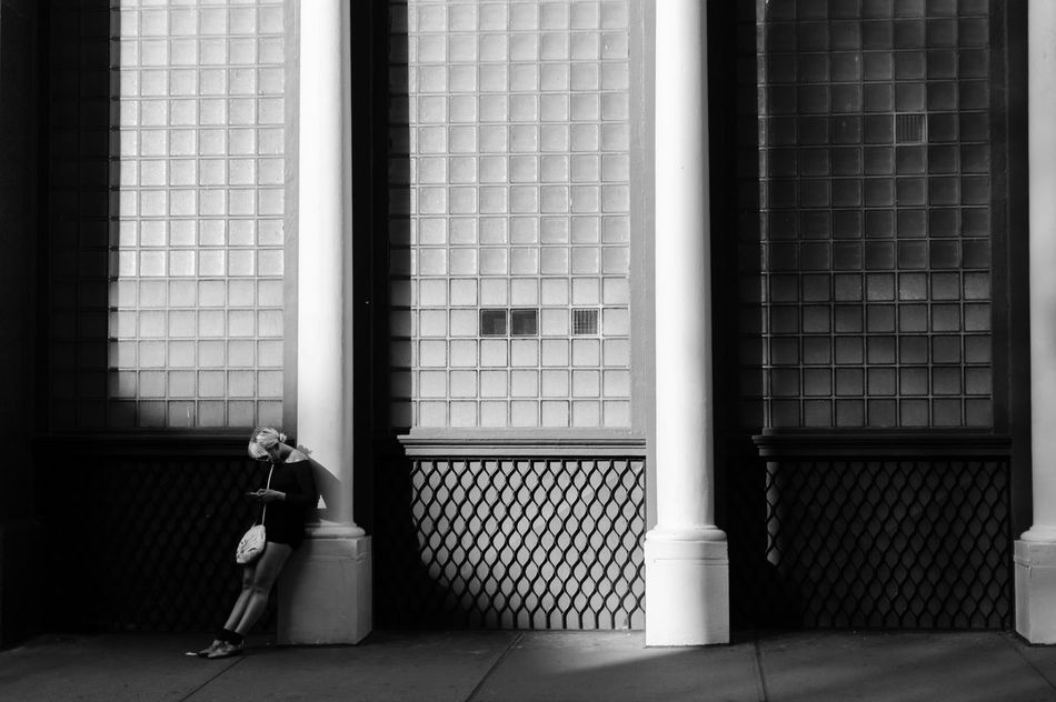 Absence Alone Architecture Blackandwhite Building Exterior Comfortable EyeEm In NYC 2015 Pattern Streetphoto_bw Streetphotography Transparent Window Battle Of The Cities Monochrome Photography