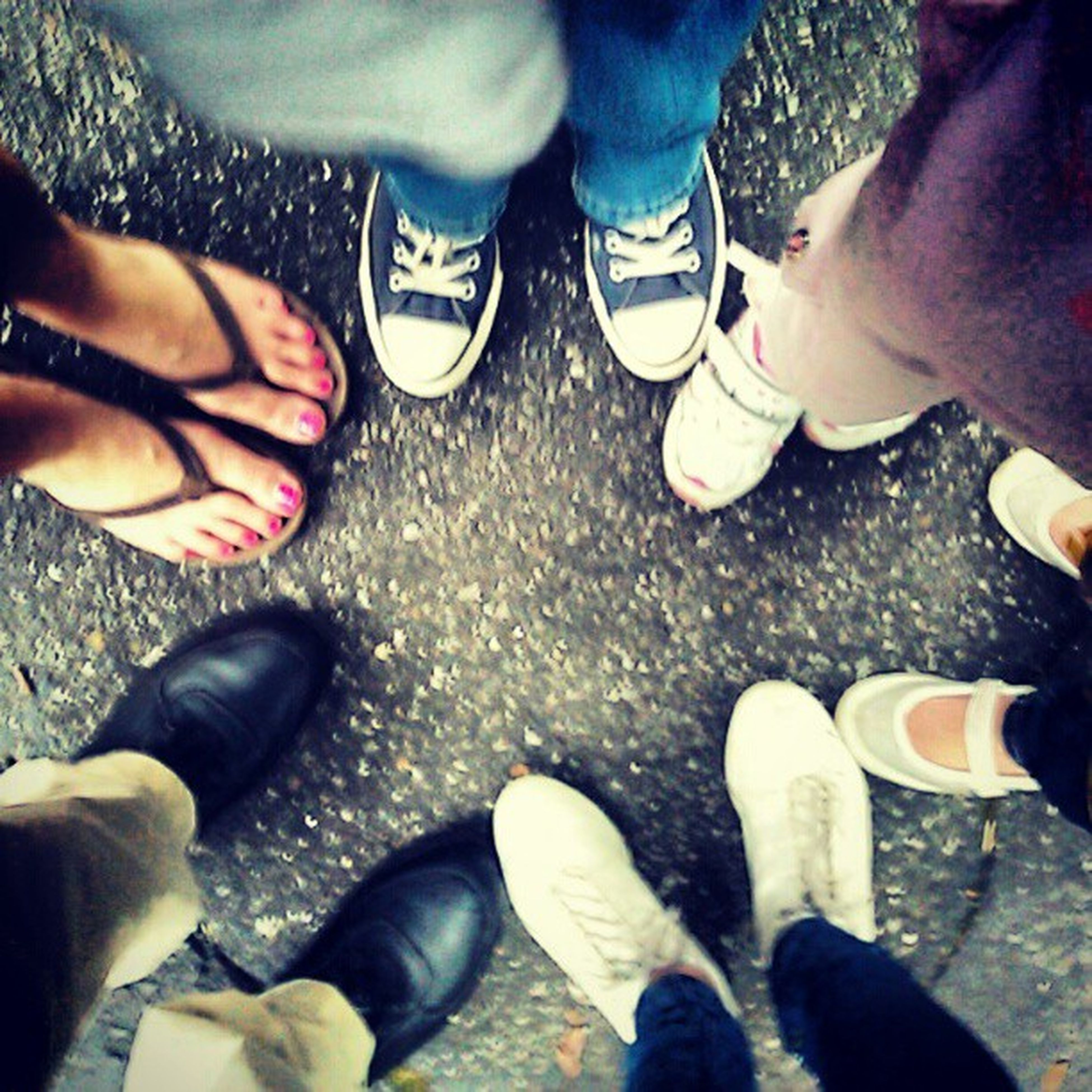 low section, person, lifestyles, shoe, men, human foot, leisure activity, togetherness, personal perspective, standing, bonding, part of, high angle view, friendship