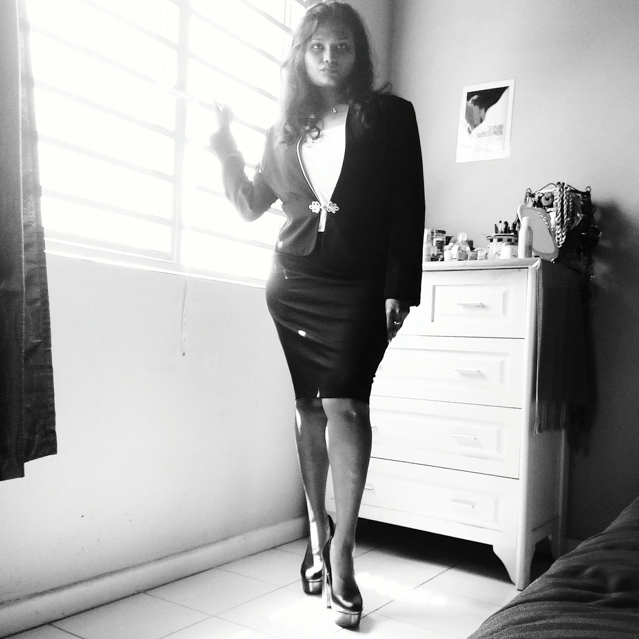 Miss Independent, when she means business! Business Full Length Blackandwhitephotography Corporate Suitupday Kristen Woman At Work Woman