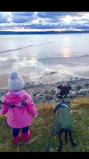 Daughter View Coastline Dog Best Friends Bobble Hat  Wellies  Wales Staffie Wirral Wirral Peninsula River Dee  United Kingdom