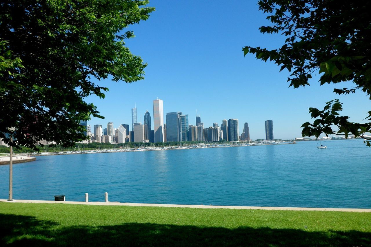 Beautiful stock photos of chicago skyline, Aon Center, Architecture, Blue, Building
