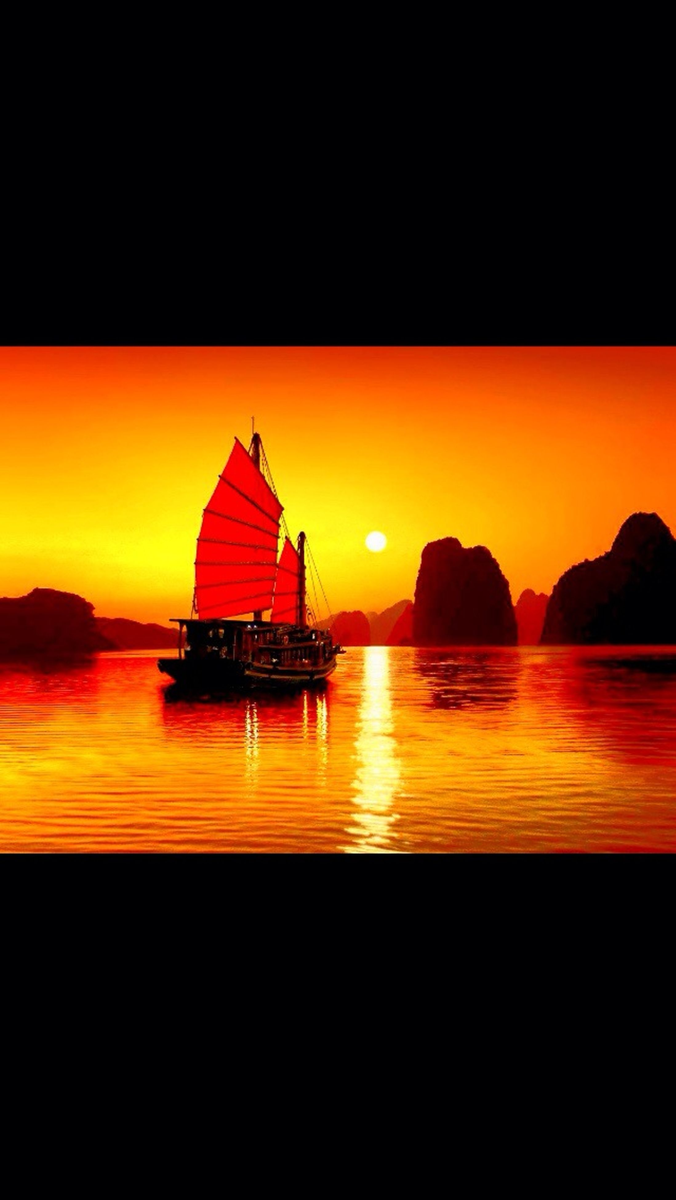 sunset, water, orange color, sea, copy space, silhouette, nautical vessel, scenics, tranquil scene, reflection, beauty in nature, boat, tranquility, transportation, clear sky, sun, idyllic, nature, mode of transport, waterfront