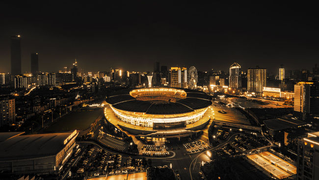 Helong Stadium Architecture Building Exterior Built Structure City City Life Cityscape Illuminated Night Skyline Urban Skyline Battle Of The Cities Changsha Changsha,China