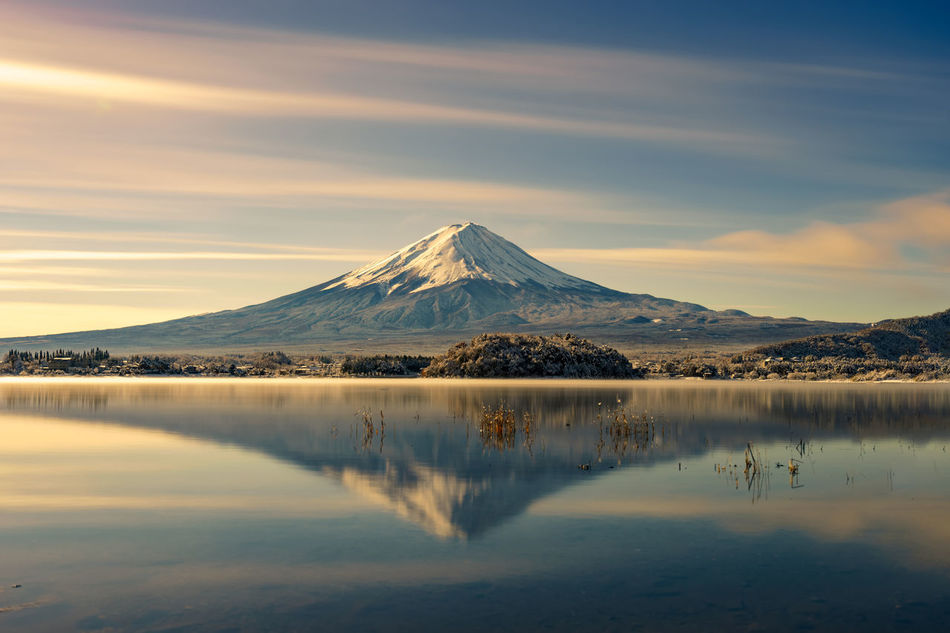 Mt.Fuji reflection on water in the morning. Beauty Beauty In Nature Day Fuji Japan Japan Photography Lake Landscape Morning Mountain Mt.Fuji Nature No People Outdoors Reflection Scenics Sky Snow Water