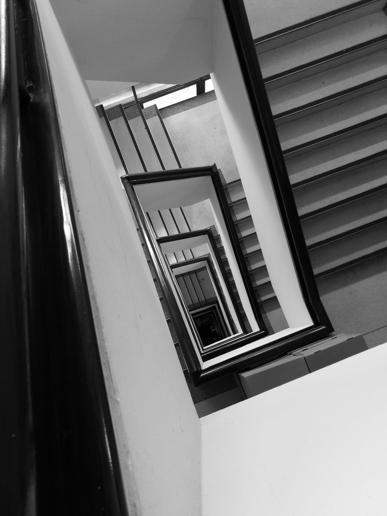 Built Structure Architecture Steps And Staircases Staircase Low Angle View Steps No People Indoors  Day EyeEm Thailand EyeEm Best Shots EyeEmBestPics Focus On Foreground Black&white Blackandwhitephotography