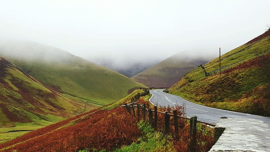 Hillside Road Trip On The Road Home Scenery Scenery Shots Taking Photos Scotland Relaxing View Misty Hill Side Views Misty Morning Foggy Weather Natural Beauty Autumn Colors