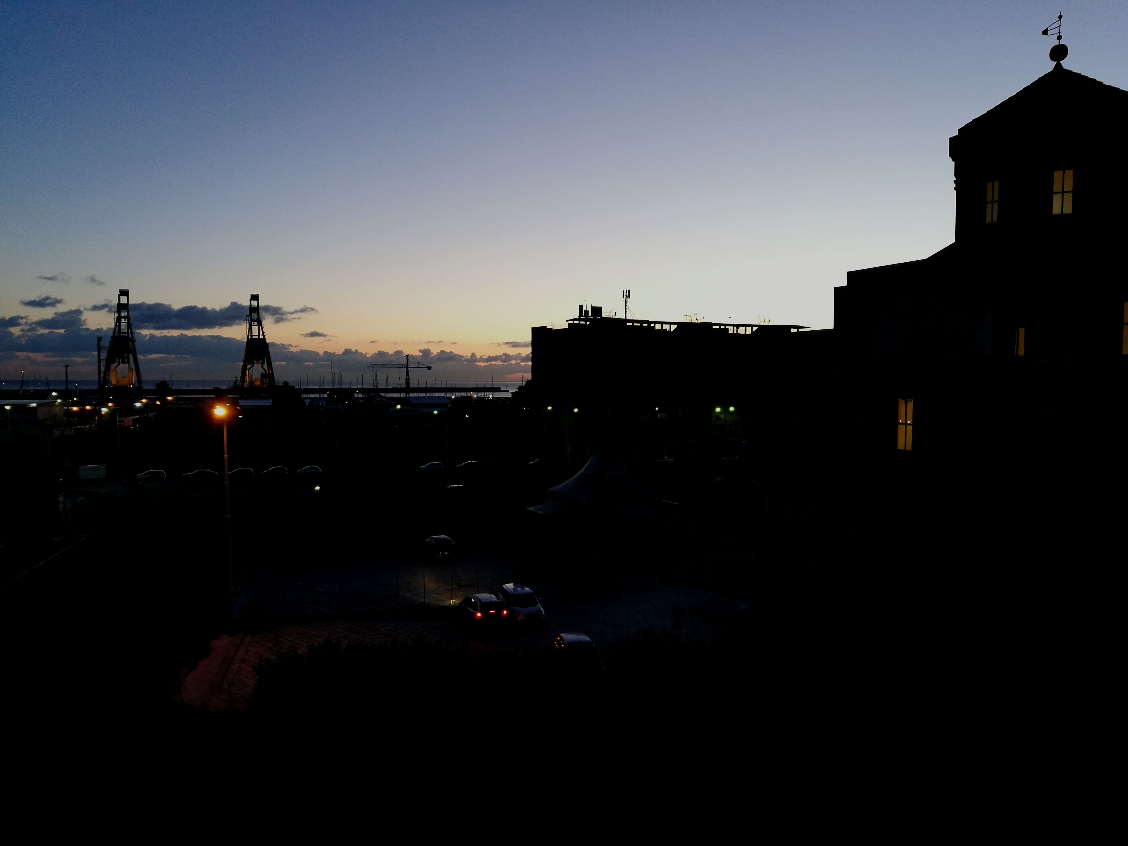 architecture, built structure, building exterior, sky, transportation, city, sunset, outdoors, no people, bridge - man made structure, illuminated, nature, night