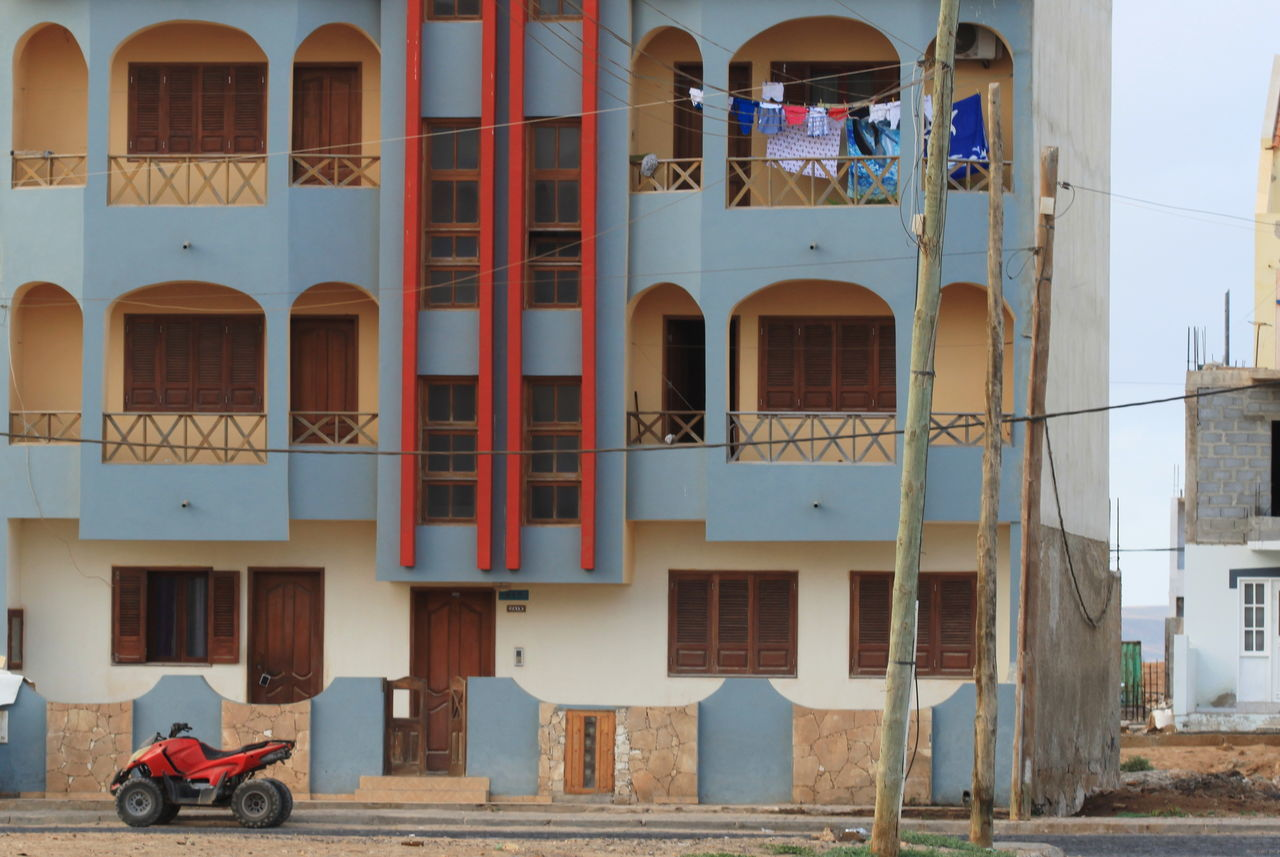 Architecture Balconies Building Exterior Built Structure Capo Verde Day Doors No People Outdoors Quad Red Color Sal Island Santa Maria Street Photography Summer 2015 Windows