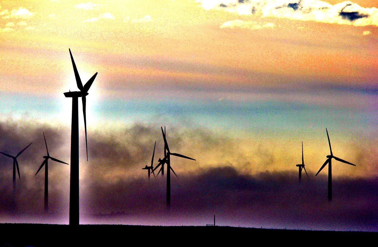 Playing with colors. Canon60d Canonphotography Clouds Different Fog Fog Bank Fuel And Power Generation Pastel Purple Renewable Energy Rural Scene Silhouette Sky Wind Energy Wind Farm Wind Power Wind Turbine Windmill