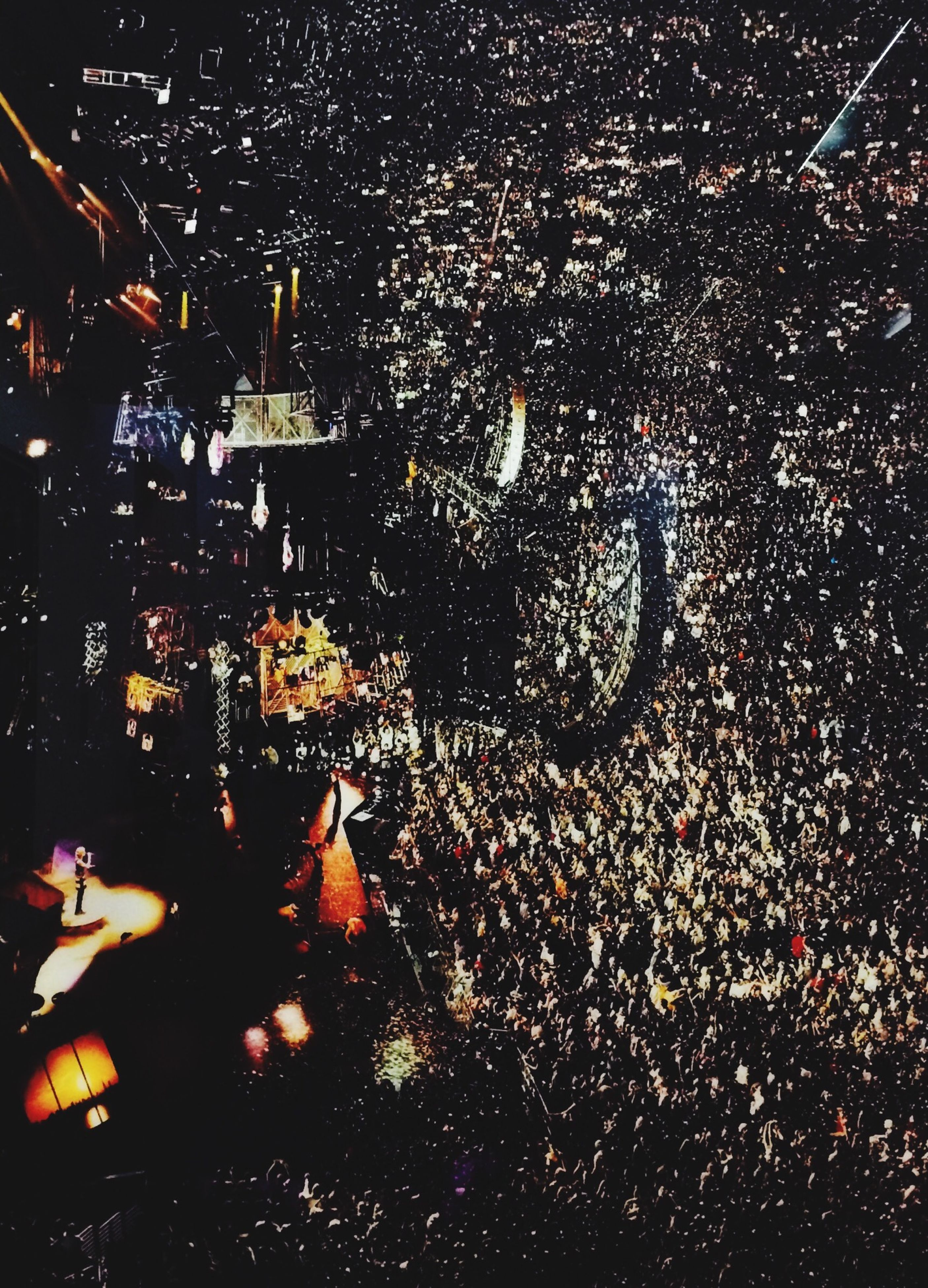 night, illuminated, high angle view, indoors, city, crowded, cityscape, architecture, building exterior, built structure, lighting equipment, dark, aerial view, abundance, street, full frame, crowd, elevated view, light - natural phenomenon