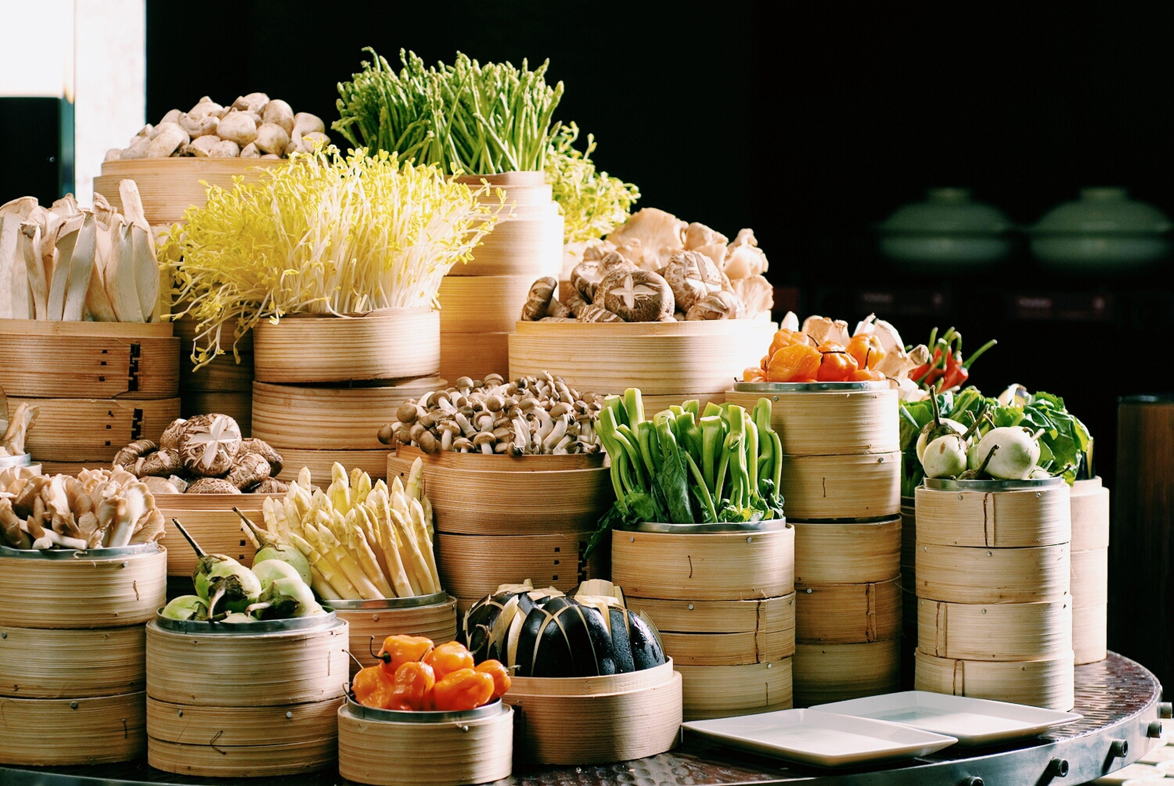 potted plant, freshness, variation, food and drink, for sale, choice, food, plant, retail, arrangement, indoors, healthy eating, flower, vegetable, table, growth, flower pot, basket, market, green color